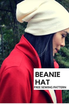 Beanie Hat Free Sewing Pattern: Learn how to make a beanie hat with a step by step sewing tutorial and free printable sewing pattern. #HatsForWomenSewing