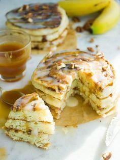 Pancake Recipes: Banana Swirl Cinnamon Roll Pancakes
