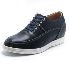Concise height elevator shoes 6cm / 2.4inch blue calfskin taller casual shoes