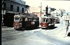 Timespanner: Wellington trams, cable cars, trolleys and harbour Cuba Street, Queen Elizabeth Park, Hunter Street, Wellington New Zealand, Train Travel, Public Transport, Auckland, Locomotive, Old Photos