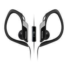 Panasonic Best in Class Sports Clip Earbud Headphones with Mic/Controller RP-HS34M-K (Black) iPhone, iPod, Android Compatible, Water Resistant, Noise Isolating Headphones