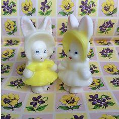 Vintage EASTER Gurley Girls - Bunny Rabbit Candles