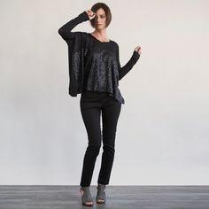 Black Glitter Long Sleeved Top by GUSTASTORE on Etsy, $85.00