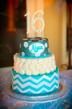 Sweet 16 party for my daughter Alyssa . This was her cake I had made! Turned out beautiful!