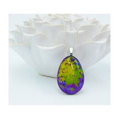 Kiln fused glass teardrop shaped necklace in bright purple, yellow and green by handmadebychloed on Etsy