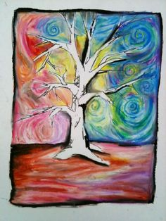 This begins with a lesson in tree drawing. Movement-in-line and rhythm-in-line is discussed and demonstrated. White oil pastel is used to mix and blend the pastel lines around the tree.(along with your finger).Discussions of color scheme are also an option.