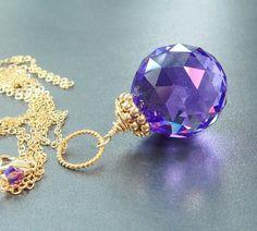 Blue Violet Swarovski Crystal Necklace Leaded Crystal Ball by LovelyLuxeJewels, $63.75