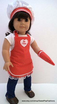 American Girl Valentine Apron Set by SweetPeaFashions on Etsy, $12.00
