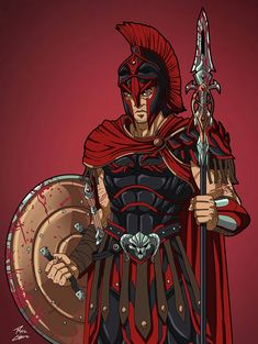 Ares commission by phil-cho venne interpretato da Ken Superhero Characters, Dc Characters, Fantasy Characters, Comic Character, Character Concept, Character Design, Greek Warrior, Angel Warrior, Superhero Design