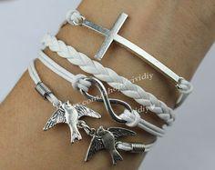 Cross braceletInfinity wish braceletBird braceletwhite by vividiy, $4.39