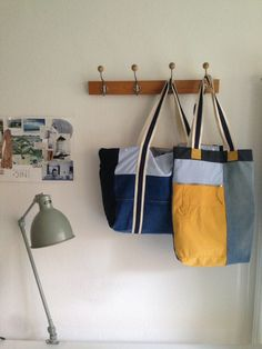 Two bags made out of the shirts and jeans.  You can find more on our Facebook page BaxMovember. Give us a like or follow #BaxMo2014 at Instagram. #Movember #recycle #jevebag