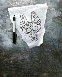 wild Egyptian sphinx cat tattoo flash design by nico di pisarro