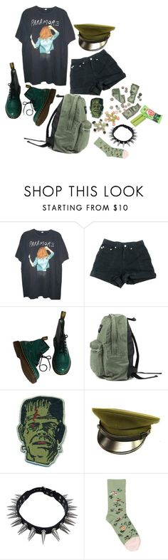 """""""a fake punk rocker who listens to k-pop and paramore"""" by loser-666 ❤ liked on Polyvore featuring Hot Topic, Dr. Martens and Bonne Maison"""