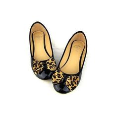 Black Leopard Bowknot Flat Shoes ($57) ❤ liked on Polyvore