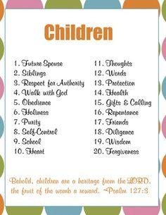 prayer list to pray for kids / teens Prayer Journal Printables