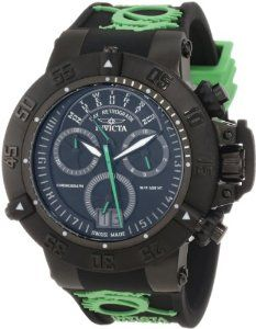 Invicta Men's 10187 Subaqua Noma III Chronograph Black Dial Black and Green Silicone Watch