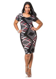 742741ba300 Ashley Stewart Patternblock Sheath Dress Ashley Stewart Dresses
