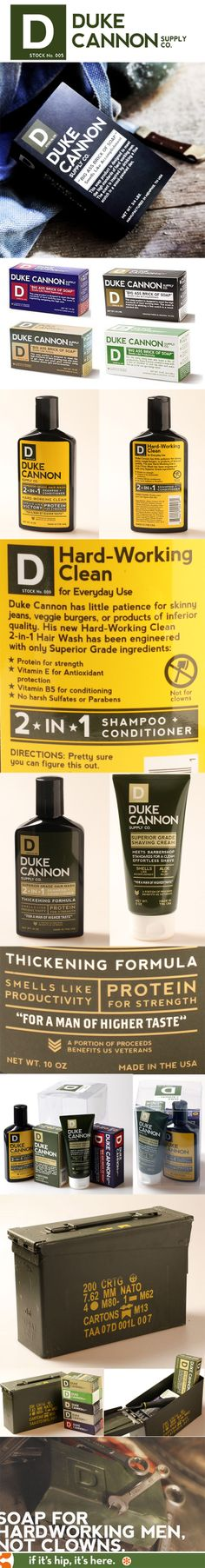Branding and packaging doesn't get much smarter/funnier than these products from Duke Cannon Supply Co.