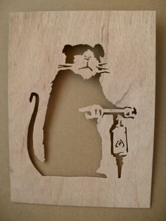 Banksy Road Driller Rat  Wooden Stencil by existencil on Etsy