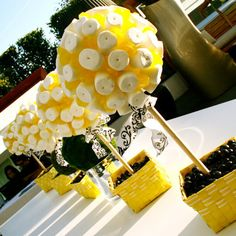 candy centerpieces, candy topiary, candy land theme party ideas, rainbow candy decor, candy trees & topiary. Mitzvah, Quince, Sweet 16, corporate centerpieces! candy favors, wedding candy favors, candy buffet wedding, www.Hollywoodcandygirls.com Marshmallow & Lollipop Center Arrangement. Yellow & White Theme, Black & White