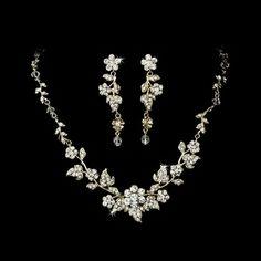 Gold Plated Floral Wedding Jewelry Set - perfect for the bride! affordableelegancebridal.com