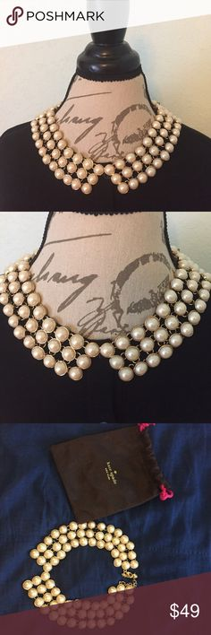 Kate Spade Peter Pan Collar Necklace $59 Radiant, chic, Kate Spade Peter Pan style collar necklace. Triple tier of luxe faux pearls in a gold plated setting. Comes with dust bag as pictured. kate spade Jewelry Necklaces