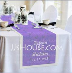 Personalized Favors - $53.99 - Personalized Waterproof Fabric Table Runner (118029678) http://jjshouse.com/Personalized-Waterproof-Fabric-Table-Runner-118029678-g29678