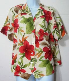 Alfred Dunner Petite 18 Spring Top Blouse Floral Cream Red Green ZBNm #AlfredDunner #Blouse #Casual