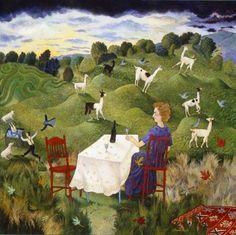 Interval : Acrylic on Board, Anna Pugh (1938- ), British folk artist