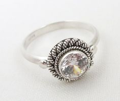 Size 6.5 Vintage CZ Engagement Ring, Braided Sterling Silver
