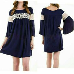 💖NEW BOHO NAVY DRESS💖 Navy blue dress with crochet trim on chest & sleeves.  ℹAvailable in S,M,L ℹMade in USA ℹPrice is final 4 Bidden Boutique Dresses Mini