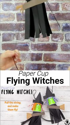 Our Flying Paper Cup Witch Craft For Kids is so easy to make. It's such a fun interactive paper cup craft for Halloween. Just pull the string and watch your witch fly up and down on her broomstick! Such a fun Halloween craft! #kidscraftroom #kidscrafts #halloweencrafts #witches #papercupcrafts Halloween Arts And Crafts, Halloween Crafts For Toddlers, Theme Halloween, Fun Crafts For Kids, Diy Halloween Decorations, Toddler Crafts, Halloween Kids, Craft Kids, Creative Crafts
