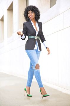 Outfit Details: Blazer: Topshop Suit; Also love these options here   Shirt (old): Adore this (especially the sleeves)   Belt: Gucci   Jeans: Levi's   Shoes: So Kate. Enjoy and have a blessed and terri
