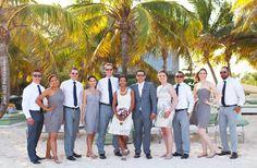 bridemaids and groomsmen beach portrait | playa del carmen, Mexico destination wedding |sandos caracol wedding galleries | Jaime Glez photography