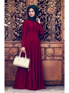 Nervürlü Bordo Elbise
