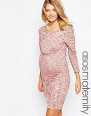 ASOS Maternity | ASOS Maternity GAMZE Ruched Midi Dress With Long Sleeves And Split at ASOS