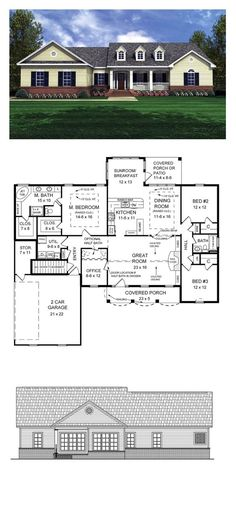 Ranch House Plan 59025 | Total Living Area: 2019 sq. ft., 3 bedrooms and 2.5 bathrooms. Many of the most-requested features have been included in this design including an expansive master suite with large his and her walk-in closets, an oversized jet tub, and walk-in shower. #houseplan #ranchstyle