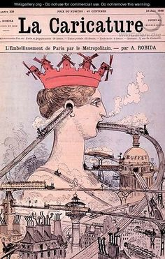 The Improvement to Paris by the Metro, from La Caricature, 19th June 1886 - Albert Robida