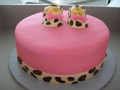 Leopard Print/Pink Baby Shower Cake