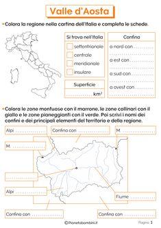 Valle d'Aosta: Schede Didattiche per la Scuola Primaria | PianetaBambini.it Camilla, Montessori, Homeschooling, Anna, Teachers, Culture, Geography, Studying, Kids