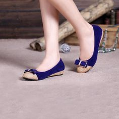 Top Quality Blue Suede Bowknot Round Closed Toe Low Heel Flats