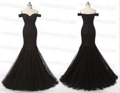 2016 Sexy Black Mermaid Prom DressCap Sleeve door customdress1900