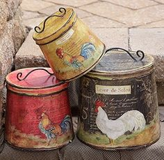 New French Country Black Red Must Set 3 Rooster Chicken Canister Tin With Lid #Country