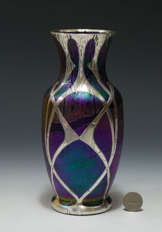 EARLY 20TH C LOETZ COBALT PAMPAS DÉCOR ART GLASS VASE WITH SILVER OVERLAY 8-1/2