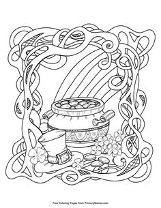 Patrick's Day coloring pages for use in your classroom and home from PrimaryGames. patricks day aesthetic Rainbow and Pot of Gold Coloring Page Saint Patricks Day Art, St Patricks Day Crafts For Kids, St Patrick's Day Crafts, March Crafts, Kids Crafts, Pokemon Coloring Pages, Coloring Book Pages, Coloring Pages For Kids, Mermaid Coloring