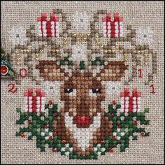 Just Nan - Rudy Reindeer Cross Stitch Charts, Cross Stitch Designs, Cross Stitch Patterns, Quilt Patterns, Embroidery Kits, Cross Stitch Embroidery, Christmas Cross, Christmas Fun, Christmas Ornament