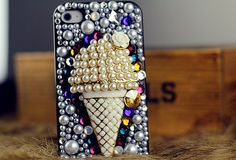 Shining Pearl and Swarovski Elements Crystal Ice Cream Case for iphone iphone4 iphone 4S iphone 5