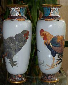 Rare Exquisite Japanese Cloisonné Enamel Vases - Roosters