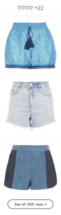 """""""⒮⒣⒪⒭⒯⒮ #22"""" by booknerd1326 ❤ liked on Polyvore featuring shorts, blue, talitha, blue shorts, bottoms, short, topshop, bleach denim, bleached denim shorts and denim shorts"""