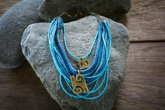 Ethnic necklace African necklace with Adinkra by Akweleydesign Brass Necklace, Tribal Necklace, Blue Necklace, Multi Strand Necklace, Turquoise Necklace, Beaded Necklace, African Necklace, African Jewelry, Gifts For Women